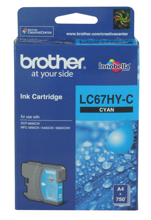 Brother LC-67C Cyan Ink Cartridge High Capacity - 750 pages - Out Of Ink