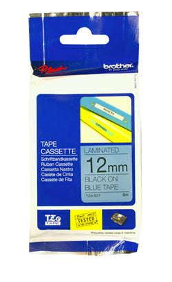 Brother 12mm Black Text on Blue Tape - 8 metres - Out Of Ink