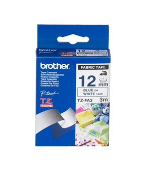 Brother 12mm Blue Text on White Fabric - 3 metres - Out Of Ink