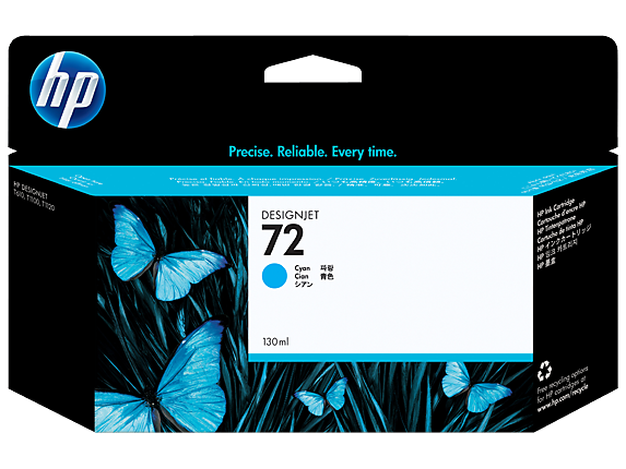 HP No.72 Cyan Ink Cartridge - Out Of Ink