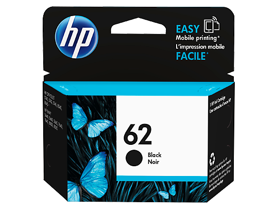 HP 62 Black Ink Cart - Out Of Ink