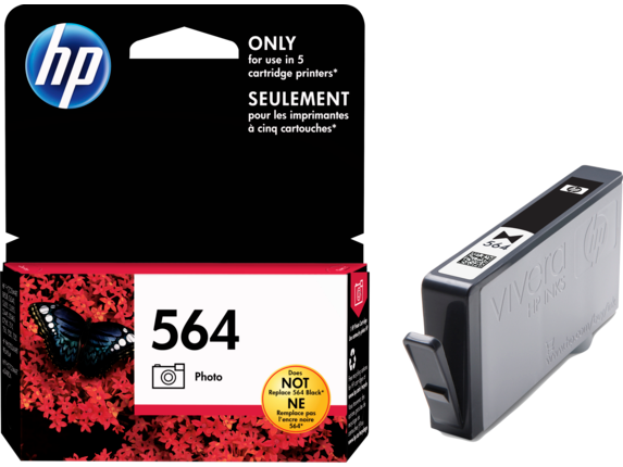 HP No.564 Photo Black Ink Cartridge - 130 pages 4 x 6 - Out Of Ink