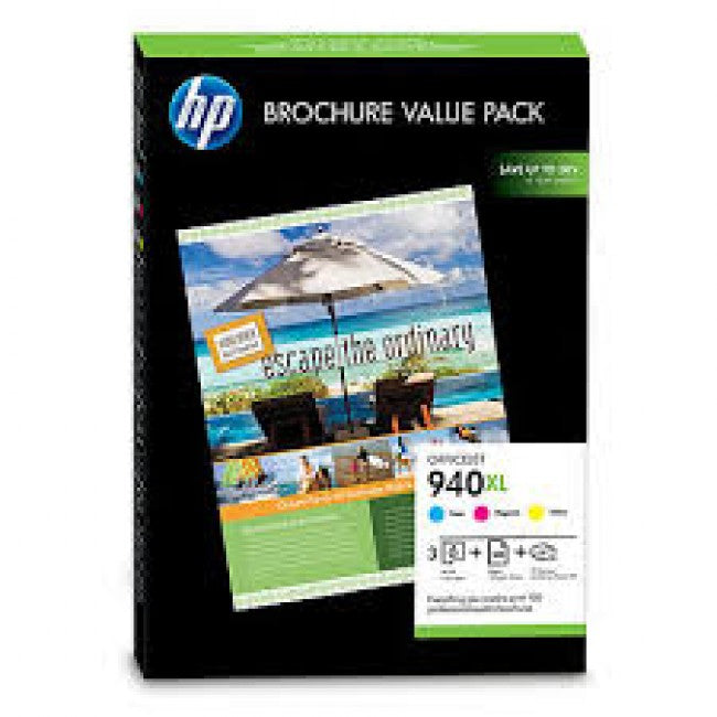 HP No. 940XL Ink Value Pack - C / M / Y plus 100 sheets of 210 x 297, 180gsm glossy paper - Out Of Ink