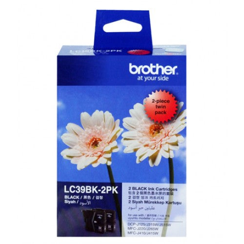 Brother LC-39BK Black Ink Cartridge -Twin pack (300 pages each) - Out Of Ink