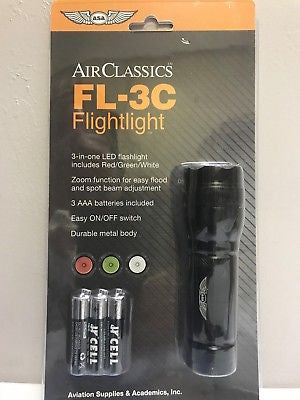 "ASA, ""Flightlight"" LED Pilot Flashlight, Red/Green/White,  p/n ASA-FL-3C"