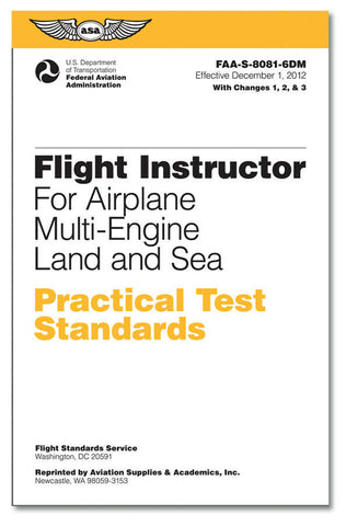 ASA, Practical Test Standards (PTS) for Flight Instructor Multi Eng., p/n ASA-8081-6DM
