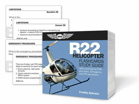 ASA, Robinson R22 Helicopter Flashcards & Study Guide, p/n ASA-CARDS-R22