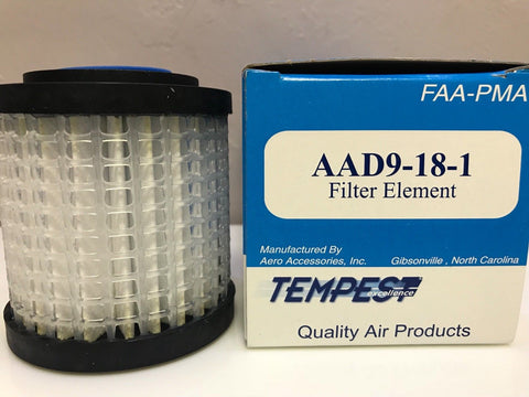 Tempest, Aircraft Pneumatic Filter, p/n AAD9-18-1 w/ FAA-PMA Certs