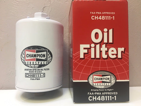 Champion, Aircraft Oil Filter, p/n CH48111-1 w/ FAA-PMA 8130 certificate