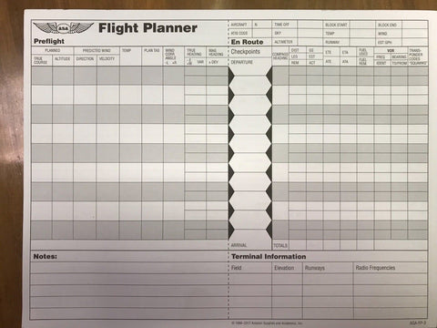 ASA, Flight Planner Pad for Flight Training & Cross Country Flying, p/n ASA-FP-3