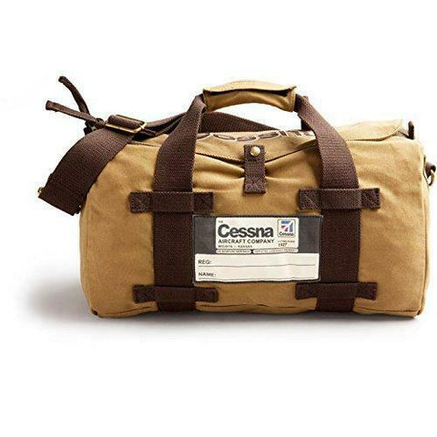 Red Canoe, Vintage Cessna Duffel Bag, Tan Cotton Twill & Brass Hardware, w/ Cessna Logo