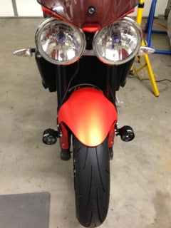 Street Triple with Darlas mounted to the fender
