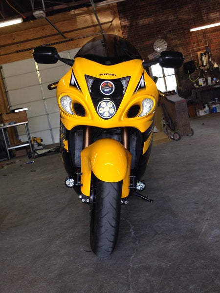 Hayabusa with Darlas mounted to the fender and a custom Krista headlight replacement