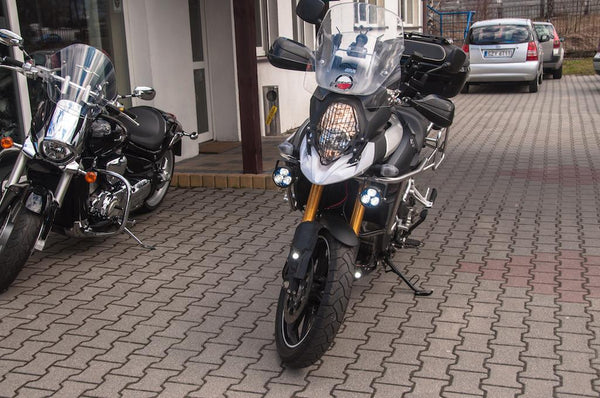 Vstrom with crash bar mounted Kristas