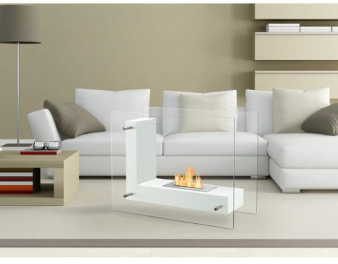 Vitrum L – Freestanding Ventless Ethanol Fireplace
