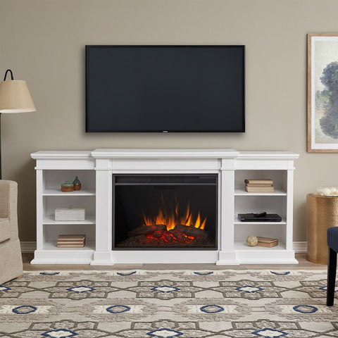 Eliot Grand Entertainment Center With Electric Fireplace in White - Ventless Fireplace Pros