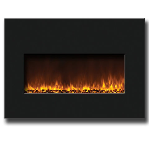 "Amantii 33"" Large Insert Electric Fireplace With Black Glass Surround - Electric Fireplaces - Ventless Fireplace Pros"