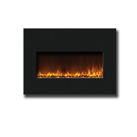 "Amantii 26"" Small Insert Electric Fireplace With Black Glass Surround - Electric Fireplaces - Ventless Fireplace Pros"