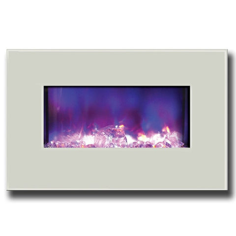 "Amantii 26"" Fire & Ice Series Electric Fireplace With White Glass Surround"