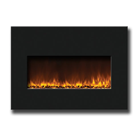 "Amantii 30"" Medium Insert Electric Fireplace With Black Glass Surround - Electric Fireplaces - Ventless Fireplace Pros"