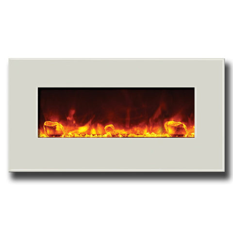 "Amantii 34"" Fire & Ice Series Electric Fireplace With White Glass Surround - Ventless Fireplace Pros"