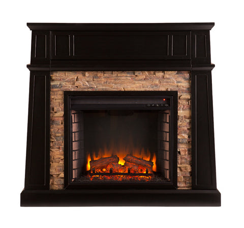 Crestwick Faux Stone Electric Media Fireplace - Black