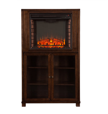 Allman Electric Fireplace Storage Tower - Grayed Espresso