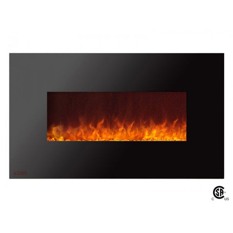 "36"" Royal Wall Mount Electric Fireplace with Crystals - Ventless Fireplace Pros"