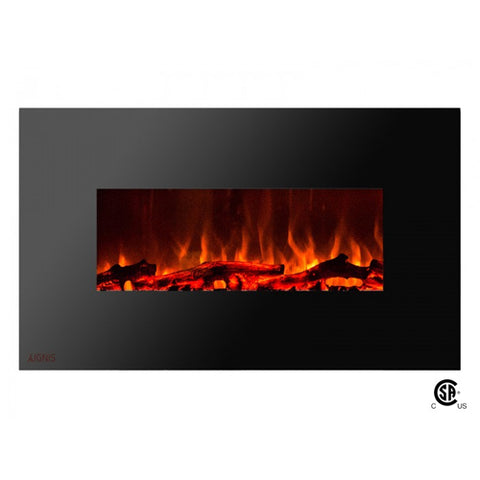 "36"" Royal Wall Mount Electric Fireplace with Logs - Ventless Fireplace Pros"