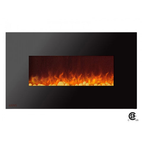 "36"" Royal Wall Mount Electric Fireplace with Pebbles - Ventless Fireplace Pros"