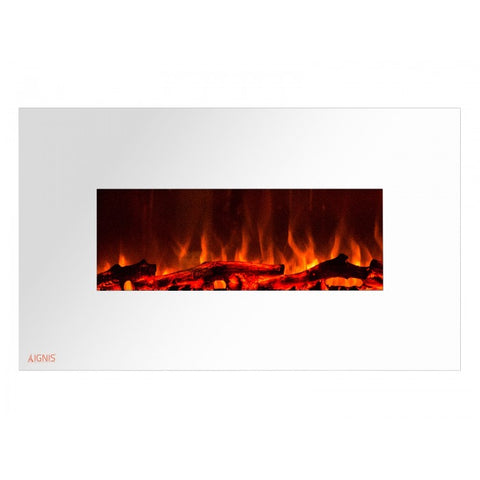 "36"" Royal White Wall Mount Electric Fireplace with Logs - Ventless Fireplace Pros"