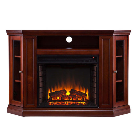 Claremont Convertible Media Electric Fireplace - Brown Maho