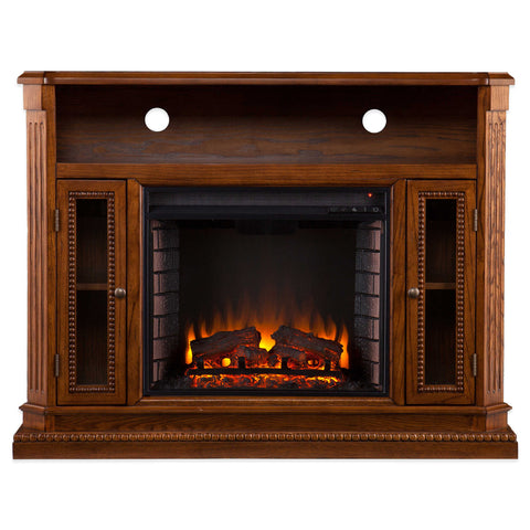 Atkinson Media Fireplace - Rich Brown Oak