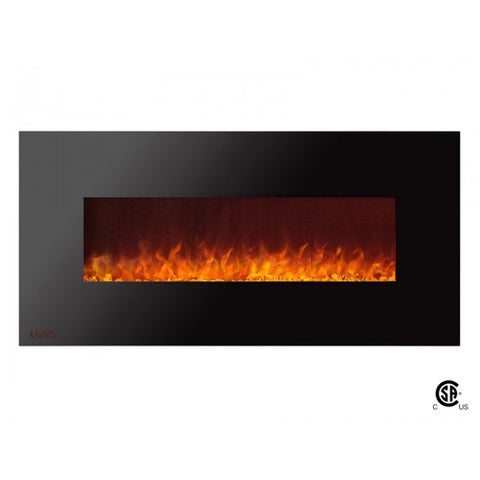 "50"" Royal Wall Mount Electric Fireplace with Crystals - Ventless Fireplace Pros"