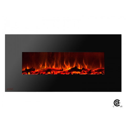 "50"" Royal Wall Mount Electric Fireplace with Logs - Ventless Fireplace Pros"