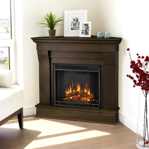 Real Flame Dark Walnut Chateau Corner Electric Fireplace