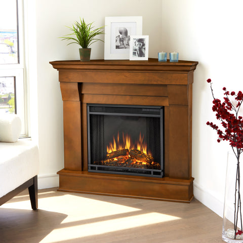 Real Flame Espresso Chateau Corner Electric Fireplace
