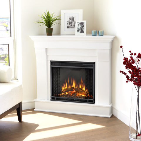 Real Flame White Chateau Corner Electric Fireplace