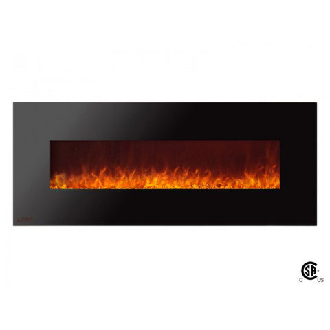 "60"" Royal Wall Mount Electric Fireplace with Crystals - Ventless Fireplace Pros"