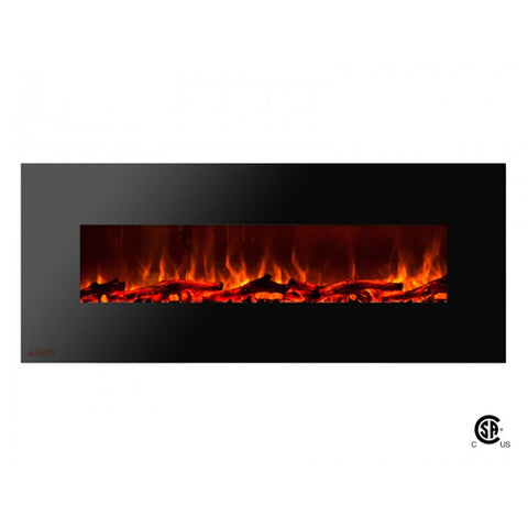 "60"" Royal Wall Mount Electric Fireplace with Logs - Ventless Fireplace Pros"