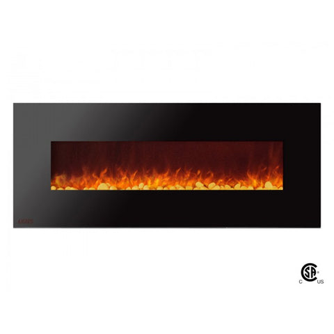 "60"" Royal Wall Mount Electric Fireplace with Pebbles - Ventless Fireplace Pros"