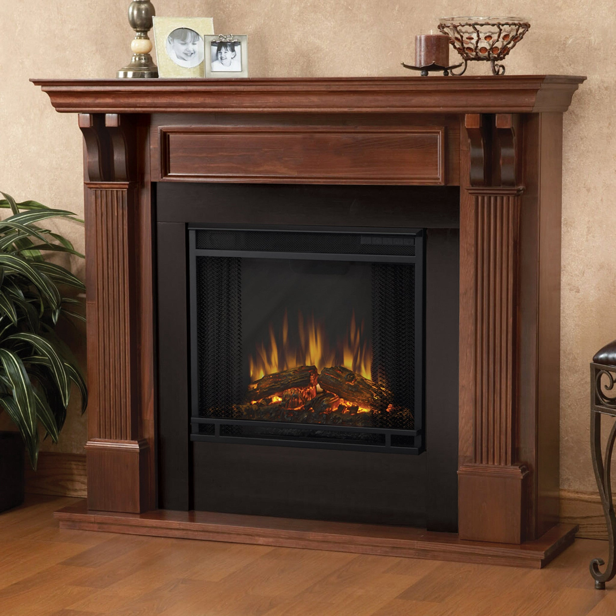 Real Flame Ashley Electric Fireplace In Mahogany Ventless