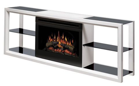 Dimplex Novara Electric Fireplace Media Console in White with Log Set