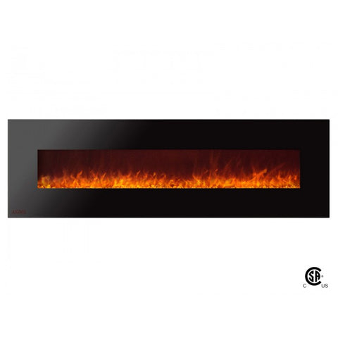 "72"" Royal Wall Mount Electric Fireplace with Crystals - Ventless Fireplace Pros"