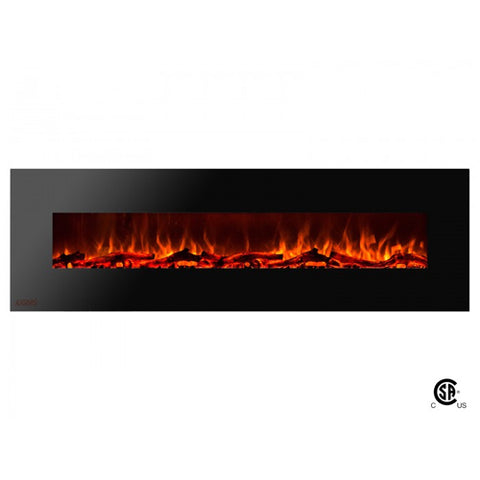 "72"" Royal Wall Mount Electric Fireplace with Logs - Ventless Fireplace Pros"