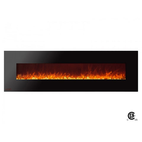 "72"" Royal Wall Mount Electric Fireplace with Pebbles - Ventless Fireplace Pros"