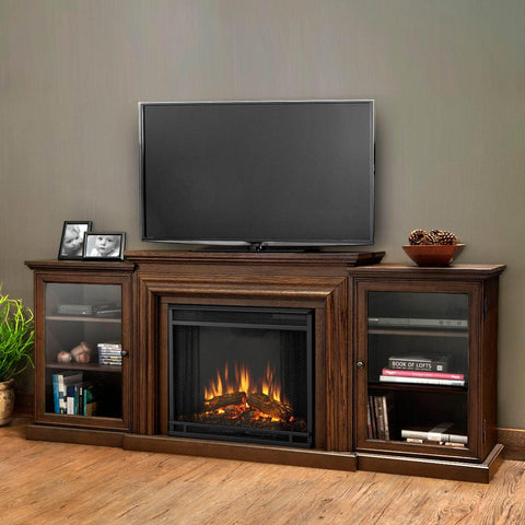 Frederick Entertainment Center Electric Fireplace (Chestnut Oak) - Ventless Fireplace Pros