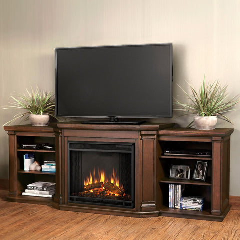 Valmont Entertaiment Center Eletric Fireplace (Chestnut Oak) - Ventless Fireplace Pros
