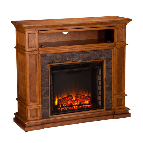 Belleview Simulated Stone Media Center Electric Fireplace