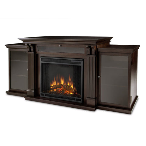 Calie Entertainment Center Electric Fireplace (Dark Walnut)- Ventless Fireplace Pros